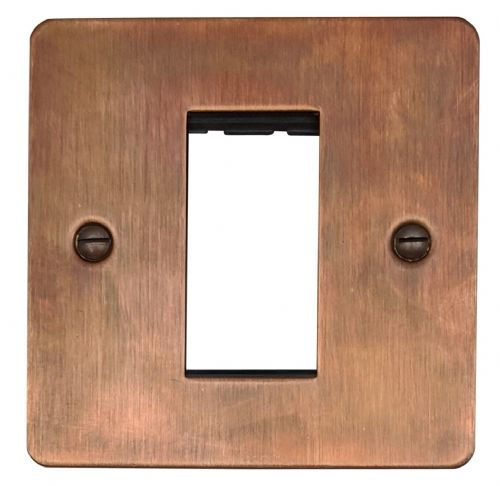 G&H FTC161 Flat Plate Tarnished Copper 1 Gang 1 Euro Module Plate